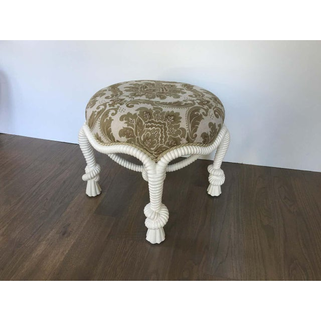 Wood 20th Century Napoleon III Style Lacquered Rope Twist Upholstered Tabouret For Sale - Image 7 of 9
