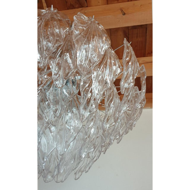 1970s Mid Century Modern Murano Glass Leaves Chandelier For Sale - Image 9 of 11