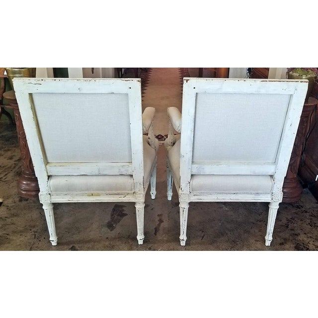 Figurative Louis XVI Style Pair of Painted Armchairs For Sale - Image 3 of 12