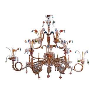 Antique Venetian Glass Rezzonico Style Chandelier For Sale