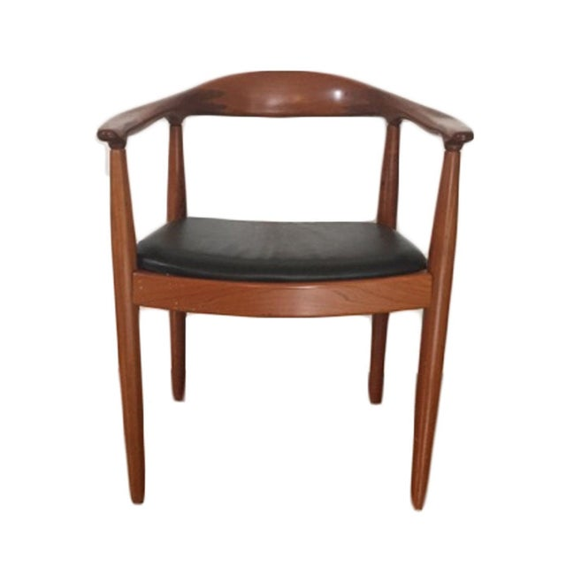 Hans Wegner Style Teak & Leather Chairs - Set of 4 - Image 4 of 5