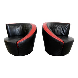 Contemporary Modern Curved Swivel Lounge Chairs Vladimir Kagan Style 1980s - a Pair For Sale