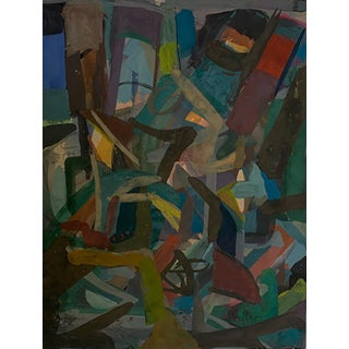 Josef Presser Abstract Composition Ship Yard Framed Painting For Sale