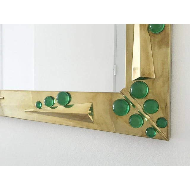 Verde Brass Mirror with Green Murano Glass Inserts by Fabio Ltd For Sale In Palm Springs - Image 6 of 10