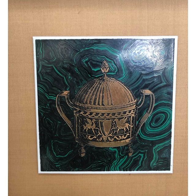 1950s Vintage Fornasetti Italian Framed Malachite Tiles - Set of 4 For Sale - Image 5 of 13