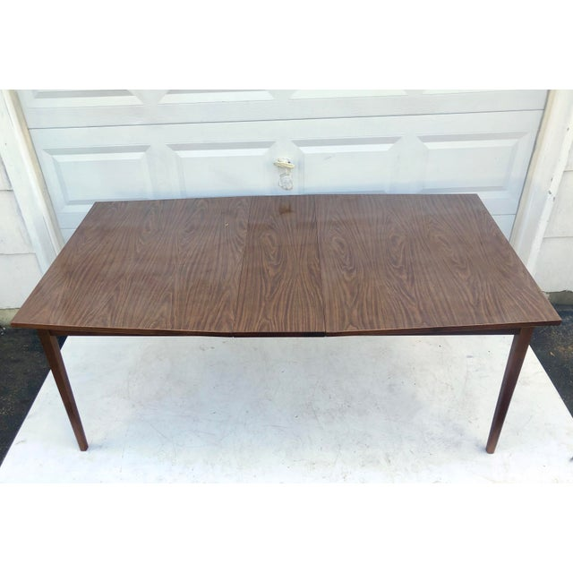 Mid-Century Modern Dining Table With Leaf For Sale - Image 4 of 11