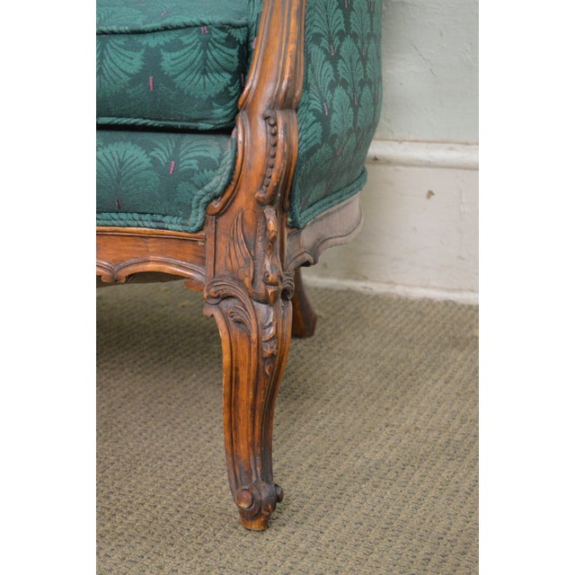 Antique Carved Rococo Style Wing Chair - Image 4 of 10