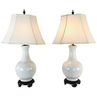 Pair of Porcelain Vase Lamps For Sale