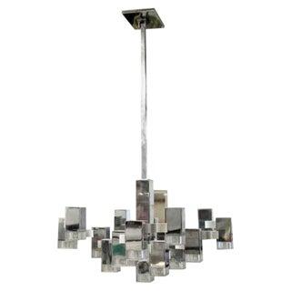 Mid Century Modern Chrome Lucite Cubic Light Fixture Chandelier Sciolari 1970s For Sale