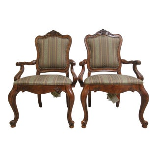 Ethan Allen French Carved Dining Chairs - a Pair For Sale