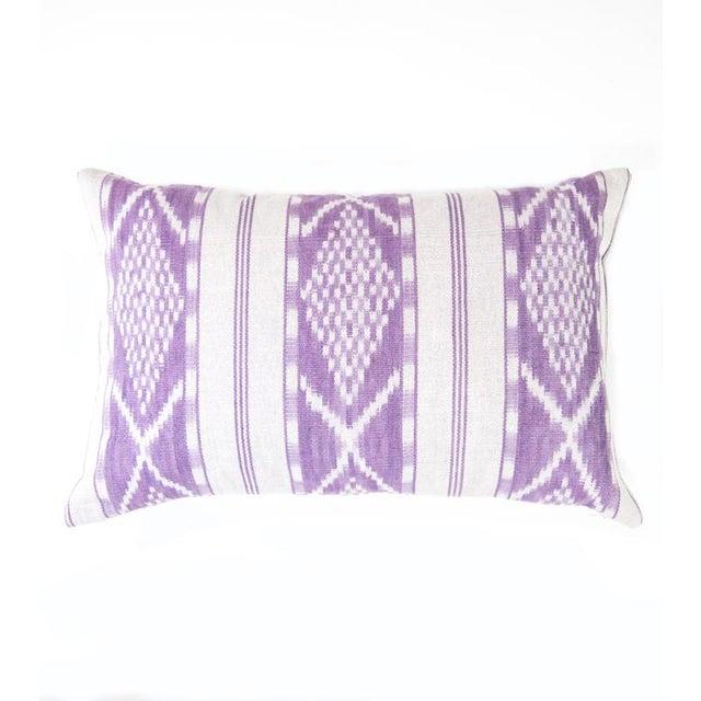 Lilac & White Ikat Guatemalan Pillow - Image 2 of 9