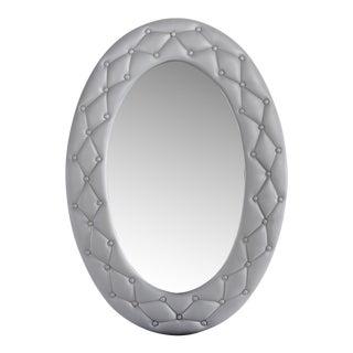 Carolina Upholstered Oval Mirror in Gray, Showroom Sample For Sale
