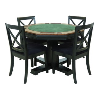 Modern Poker Casino Game Table & 4 Chairs For Sale