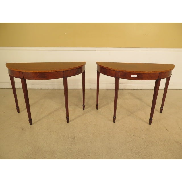 Federal Style Mahogany Demilune Tables - A Pair - Image 2 of 11