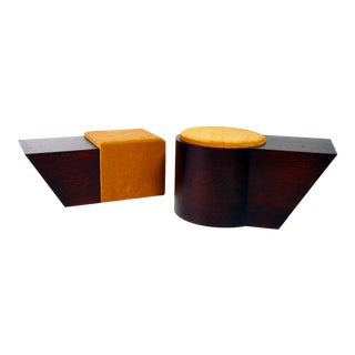 Jason Mizrahi Stained Oak Stools- a Pair For Sale