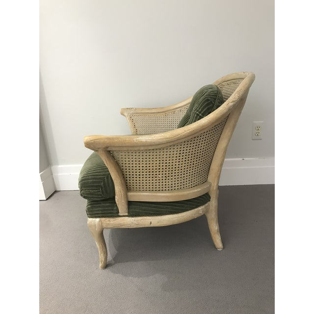 Wood 1960s Faux Bois / Cane Arm Chair With Green Corduroy For Sale - Image 7 of 13