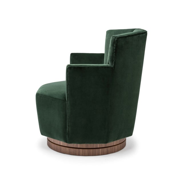 Contemporary Quinaquina Green Swivel Chair For Sale - Image 3 of 4