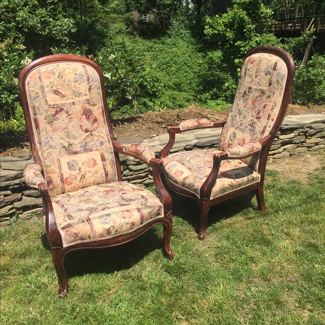 Vintage Victorian High Back Parlor Chairs - A Pair - Image 9 of 11