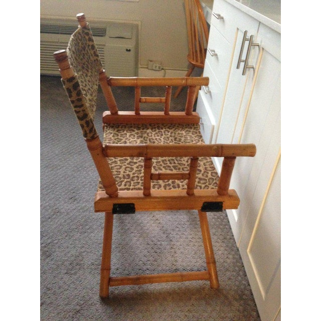 Directors Chairs From Telescope Chair, Leopard Print Fabric, Midcentury, Pair For Sale - Image 9 of 13