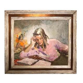 1960s Vintage Alice Harvey Ramsey Signed Portrait of Arlene Huyler Ramsey Painting For Sale