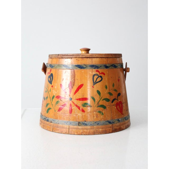 Brown Antique Painted Sugar Bucket For Sale - Image 8 of 10