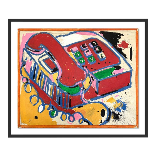 Telephone by Jelly Chen in Black Framed Paper, Large Art Print For Sale