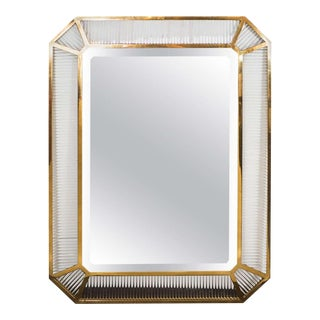 1970s Italian Glass Rod and Brass Framed Mirror Attributed to Fontana Arte For Sale