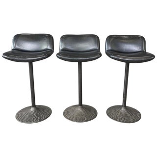 Set of Three Ilmari Tapiovaara Caribe Swivel Barstools For Sale