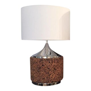 Mid-Century Cork Lamp Base With Shade For Sale
