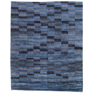 Geometric Blue on Blue Bamboo Silk Tibetan Area Rug - 8' X 10' For Sale