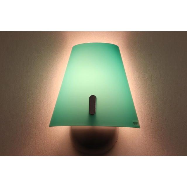 "Mid-Century Modern Wall Lamp Murano Hand Blown Green Glass Satin Finish with Interior ""Incamiciato"" White. Designed and..."