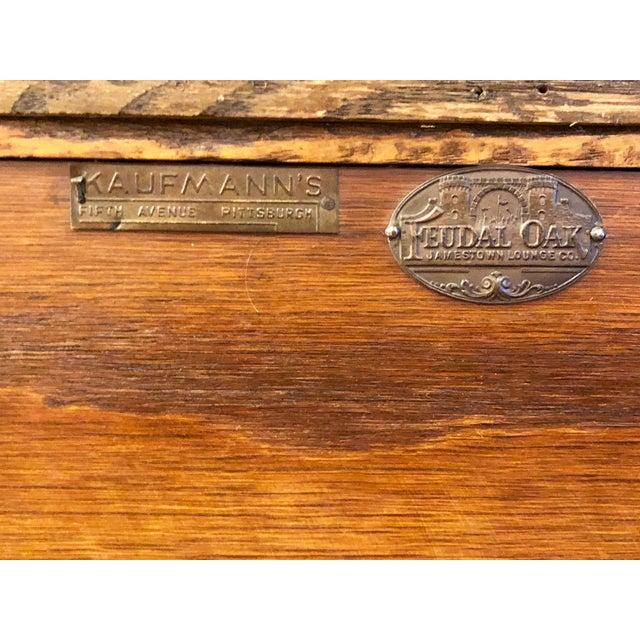 Vintage Mid Century Jamestown Lounge Co. Feudal Oak Desk Set- 3 Pieces For Sale In Los Angeles - Image 6 of 13