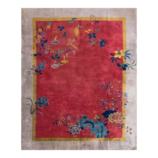 Antique Chinese Art Deco Red Rug-8′6″ × 11′6″ For Sale