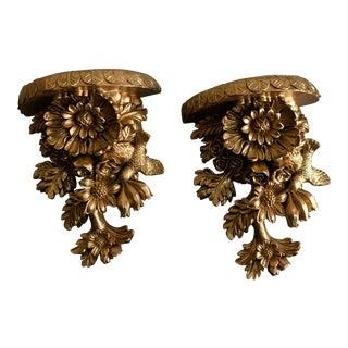 Vintage Golden Brackets - A Pair
