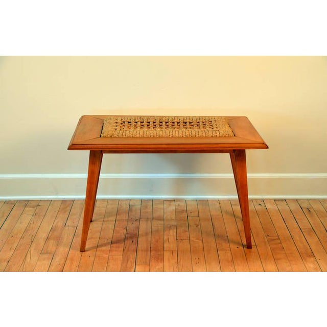 Mid-Century Modern Rare Oak and Rope Side Table by Adrien Audoux and Frida Minet For Sale - Image 3 of 6