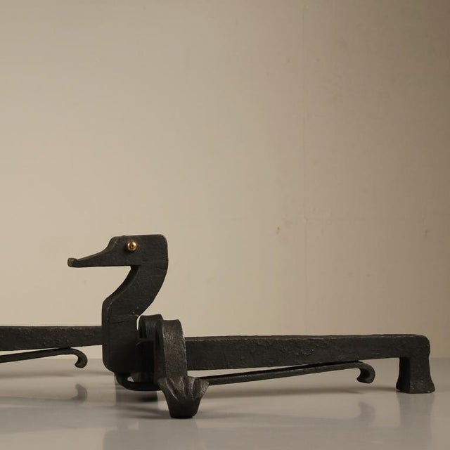 Arts & Crafts Pair duck shaped iron andirons by Edouard Schenck For Sale - Image 3 of 5