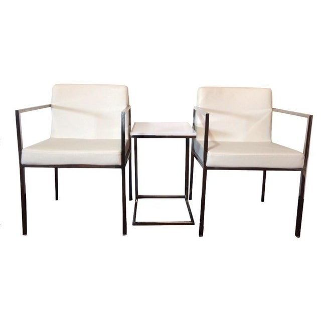 White Leather and Chrome Chairs and Table - S/3 - Image 1 of 6