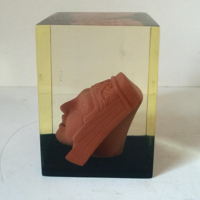 Lucite Paperweight with Aztec Mask - Image 6 of 8