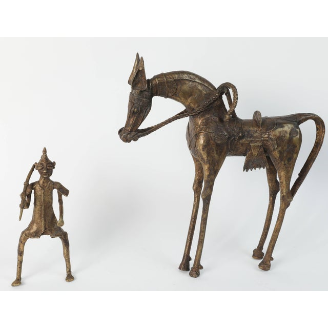 Brass African Brass Sculpture of a Tribal Warrior on Horse For Sale - Image 7 of 9