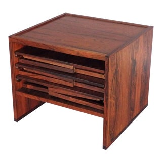 Nicely Styled Finely Crafted Nest of Rosewood Campaign Style Tables For Sale