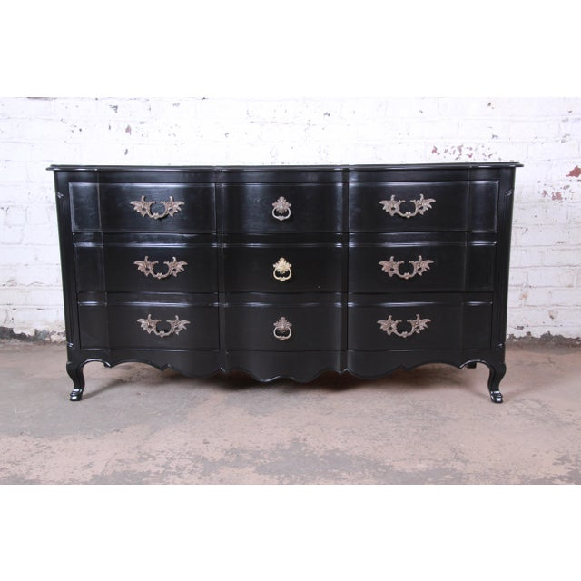 John Widdicomb French Provincial Louis XV Ebonized Dresser, Newly Refinished For Sale - Image 13 of 13