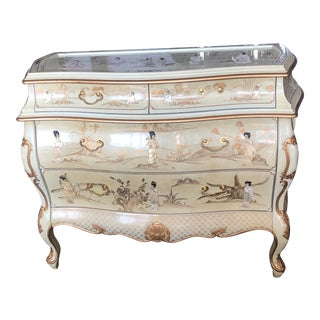 Vintage Chinoiserie Bombe Style Chest of Drawers For Sale