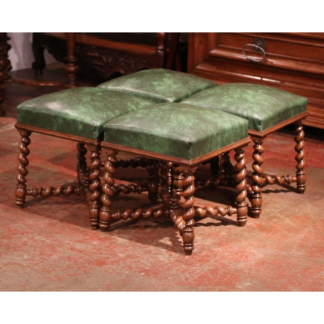 Baroque Set of Four 19th Century French Louis XIII Carved Barley Twist Leather Stools For Sale - Image 3 of 8