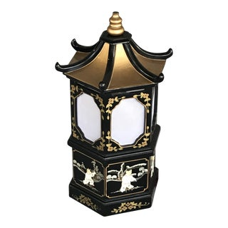 Vintage Oriental Pagoda Lamp With Mother of Pearl