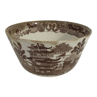 Antique Brown Willow Transferware Bowl For Sale