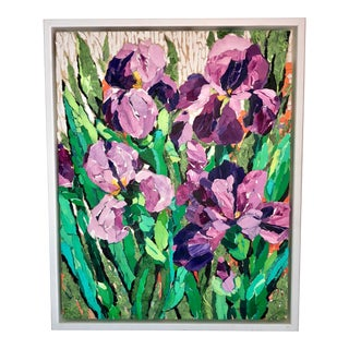 """Purple Irises I"" Acrylic Collage Painting For Sale"