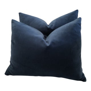 Dark Teal Velvet Lumbar Pillows - A Pair For Sale