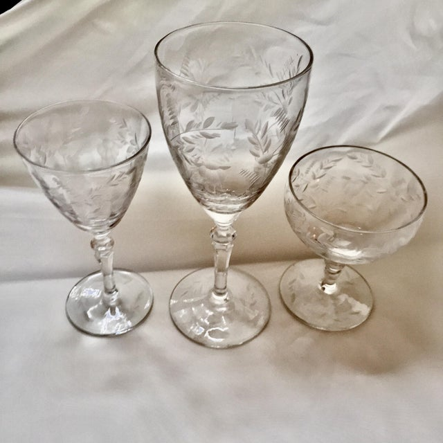 Art Deco Art Deco Etched Crystalware Set - 18 Pieces For Sale - Image 3 of 11