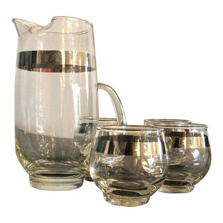 Mid Century Modern Dorothy Thorpe Silver Overlay Martini Pitcher & Set of Four Glasses