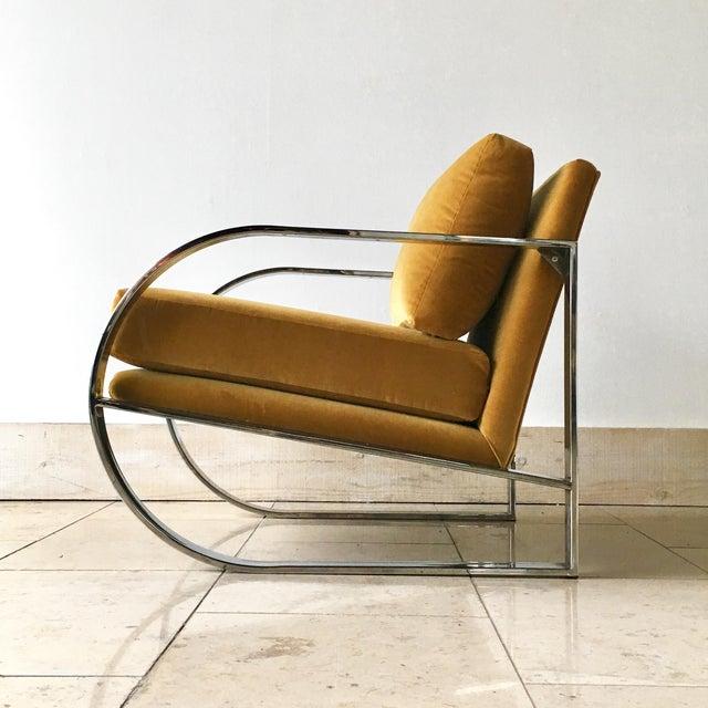 Mid-Century Modern Chromium Steel Framed Velvet Armchairs 1970s For Sale - Image 3 of 11